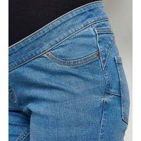 Maternity Bright Blue 'Lift & Shape' Knee Denim Shorts New Look