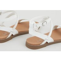 White Leather-Look Cross Strap Footbed Sandals New Look