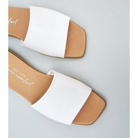 White Leather-Look Square Toe Sliders New Look Vegan