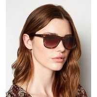 Dark Brown Tortoiseshell Effect Retro Sunglasses New Look
