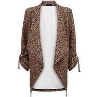 Brown Leopard Print Waterfall Blazer New Look