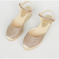 Gold Glitter Woven Espadrille Wedges New Look