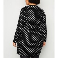 Mela Curves Black Polka Dot Wrap Dress New Look