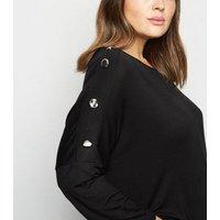 Mela Curves Black Button Shoulder Top New Look