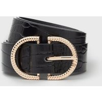 Black Faux Croc Double Horseshoe Waist Belt New Look