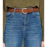Tan Stud Tooled Leather-Look Jeans Belt New Look