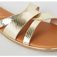Wide Fit Gold Metallic Faux Snake Sliders New Look Vegan