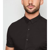 Black Short Sleeve Muscle Fit Poplin Shirt New Look