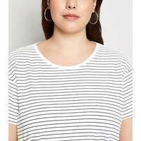Curves White Stripe Oversized T-Shirt New Look