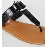 Wide Fit Black Faux Croc Metal Ring Sandals New Look Vegan