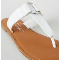 Wide Fit White Faux Croc Metal Ring Sandals New Look Vegan