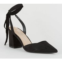 Black Suedette Ankle Tie Block Heel Court Shoes New Look Vegan