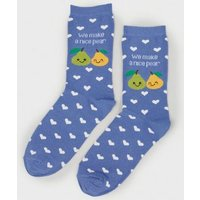 Blue Pear Slogan Socks New Look