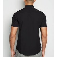 Black Poplin Short Sleeve Shirt New Look