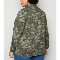 Curves Green Camo Print Light Jacket New Look