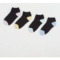 Girls 4 Pack Black Colour Block Trainer Socks New Look