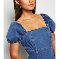 Petite Blue Denim Puff Sleeve Dress New Look