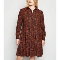 Curves Brown Leopard Print Smock Shirt Dress New Look
