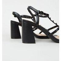 Black Leather-Look Stud Strap Block Heels New Look Vegan