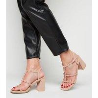 Pale Pink Leather-Look Stud Strap Block Heels New Look Vegan