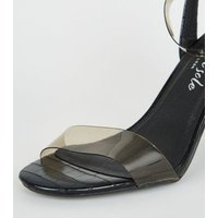 Black Faux Croc Clear Strap Block Heels New Look