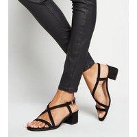 Wide Fit Black Suedette Strappy Low Heel Sandals New Look Vegan