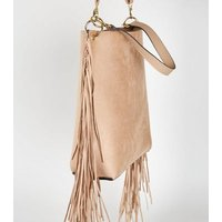 Cream Fringe Trim Stud Bucket Bag New Look Vegan