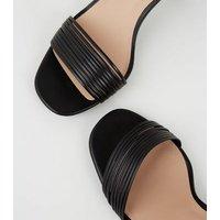 Black Leather-Look Tube Strap Heels New Look