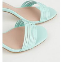 Pale Blue Leather-Look Tube Strap Heels New Look