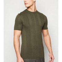 Khaki Ribbed Knit Muscle Fit T-Shirt New Look