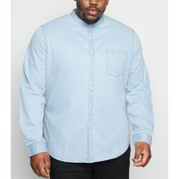 Plus Size Pale Blue Grandad Collar Denim Shirt New Look