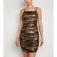 NaaNaa Black Glitter Stripe Ruched Bodycon Dress New Look
