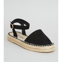 Black Suedette Metal Trim Ankle Strap Espadrilles New Look Vegan