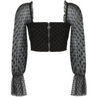Cameo Rose Black Spot Mesh Bustier Crop Top New Look