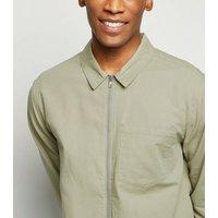 Olive Cotton Zip Up Light Jacket New Look