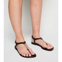 Wide Fit Black Glitter 3 Ring Flat Sandals New Look Vegan