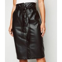 Petite Black Leather-Look Belted Pencil Skirt New Look