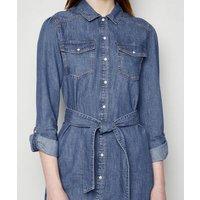 Tall Blue Denim Long Sleeve Shirt Dress New Look