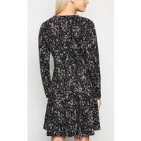 Petite Black Animal Print Soft Touch Skater Dress New Look