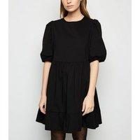Petite Black Poplin Puff Sleeve Smock Dress New Look