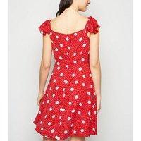 Blue Vanilla Red Floral Tea Dress New Look