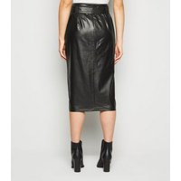 Tall Black Leather-Look High Waist Pencil Skirt New Look
