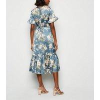 Blue Vanilla Blue Satin Floral Frill Trim Midi Dress New Look