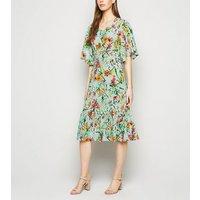 Blue Vanilla Mint Green Tropical Floral Midi Dress New Look