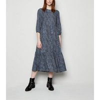 Tall Blue Animal Print Tiered Smock Midi Dress New Look
