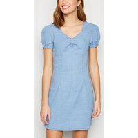 Pink Vanilla Blue Sweetheart Neck Denim Dress New Look