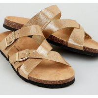 Wide Fit Gold Cross Strap Buckle Footbed Sandals New Look Vegan