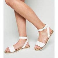 Wide Fit White Stud Trim Footbed Sandals New Look