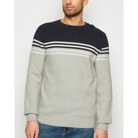 Navy Stripe Colour Block Crew Jumper New Look