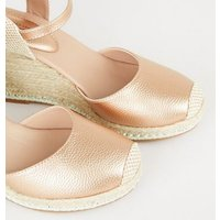 Rose Gold Leather-Look Stud Espadrille Wedges New Look Vegan